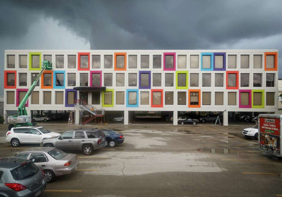The Montrose Center has painted the exterior of their building with blocks of neon colors, Thursday, Sept. 19, 2013, in Houston. ( Michael Paulsen / Houston Chronicle ) Photo: Michael Paulsen, Staff / © 2013 Houston Chronicle