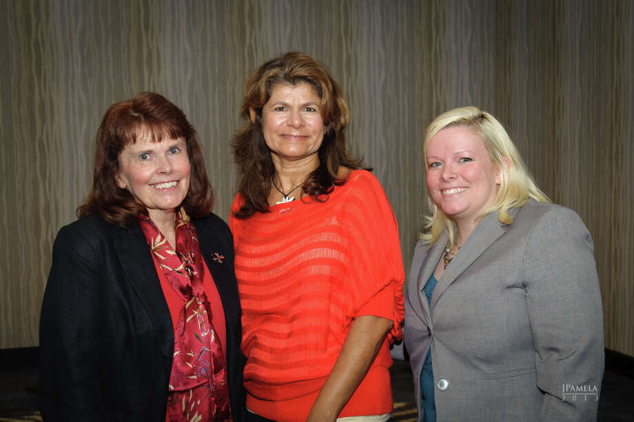 Renu Bonner, center, of the Association of Business and Professional Women, hosted Carol Keough, left, and Trisha Barita at an Oct. 3 meeting. Photo: Provided By Association Of Business And Professional Women
