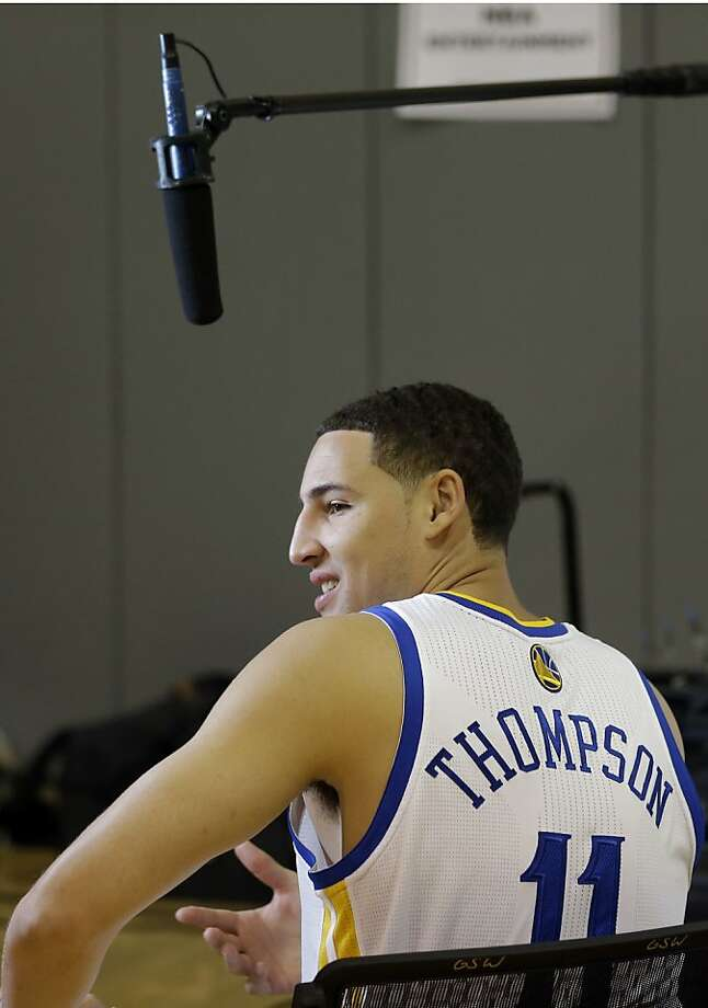 Golden State Warriors' Klay Thompson takes part in an interview during NBA basketball media day, Friday, Sept. 27, 2013, in Oakland, Calif. (AP Photo/Marcio Jose Sanchez) Photo: Marcio Jose Sanchez, Associated Press