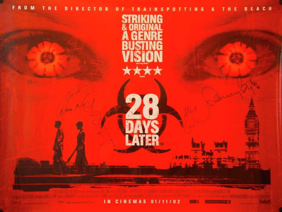 """The 2002 film that created the subgenre of zombies lovingly called """"Rage Zombies."""" Danny Boyle's post-apocalyptic London showcases sprinting, screaming zombies unlike those shambling numbskulls of Romero's classics.  The film creates incredible tension and nerve-wracking thrills through its use of these new zombie monsters, and endures as one of the strongest examples of modern horror filmmaking.  Made for 5 million GBP, the film grossed about 82 million GBP worldwide."""