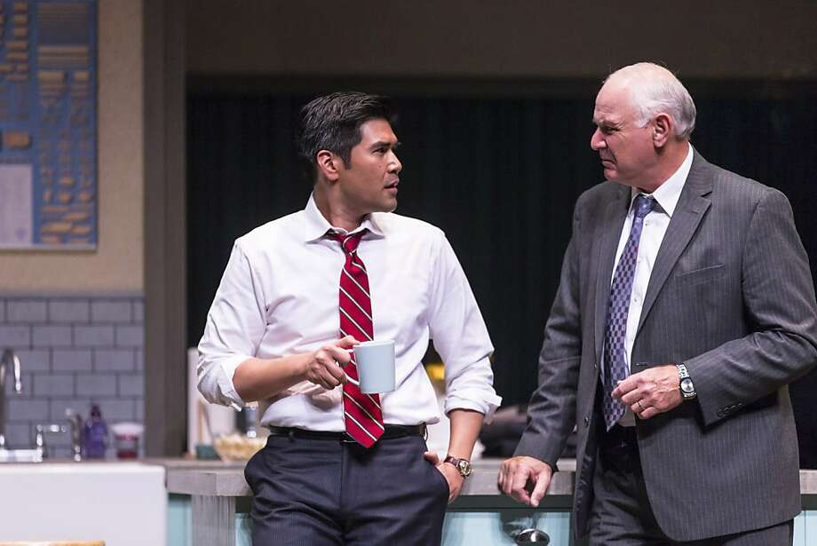 "Julius (Pun Bandhu, left) and his political strategist, Nathan (Robert Sicular), strategize about how to handle a potentially damaging revelation in ""Warrior Class"" at TheatreWorks in Mountain View. Photo: Mark Kitaoka"