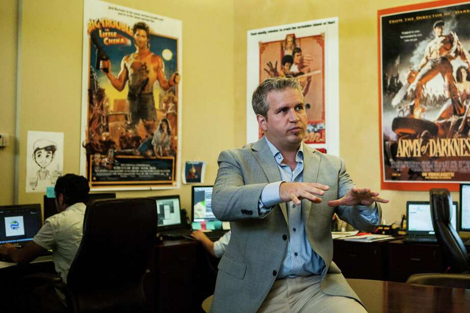 Oliver Diaz, CEO of FuelFX, talks about his business at the company headquarters in Bellaire. FuelFX specializes in innovative 3D animation tools that oil companies can use to train workers and explain their operations. Photo: Michael Starghill Jr. / Houston Chronicle