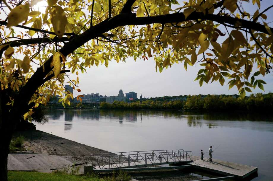 A boat launch along the Hudson River in the north section of Rensselaer on Wednesday, Oct. 9, 2013.  The skyline of Albany is seen across the river.  (Paul Buckowski / Times Union) Photo: Paul Buckowski / 00024155A