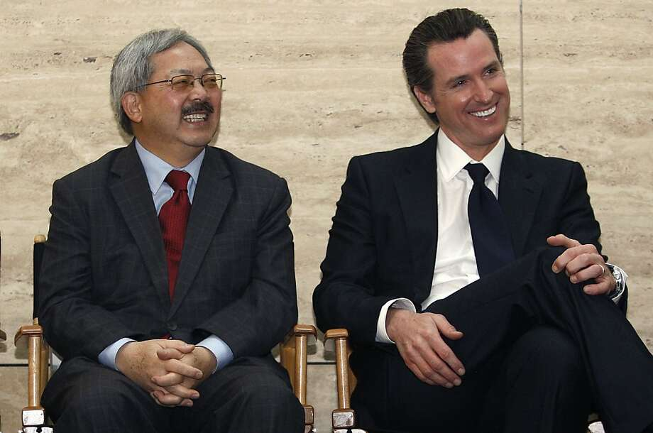 Mayor Ed Lee (left) and Lt. Gov. Gavin Newsom star in an ad favoring the 8 Washington development. Photo: Liz Hafalia, The Chronicle
