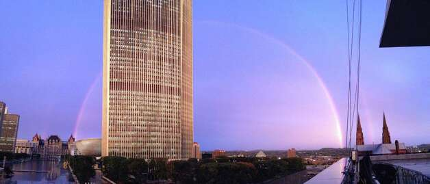 Alison Kane and her fiance Justin Birzon of Albany spotted this double rainbow while walking their dog around the Empire State Plaza. Justin captured the moment. (Justin Birzon)