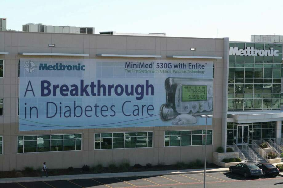 A banner at the Medtronic Diabetes sales and patient service center in San Antonio heralds the rollout of a new insulin-pump device. More than 1,100 people are employed at Medtronic's San Antonio office.