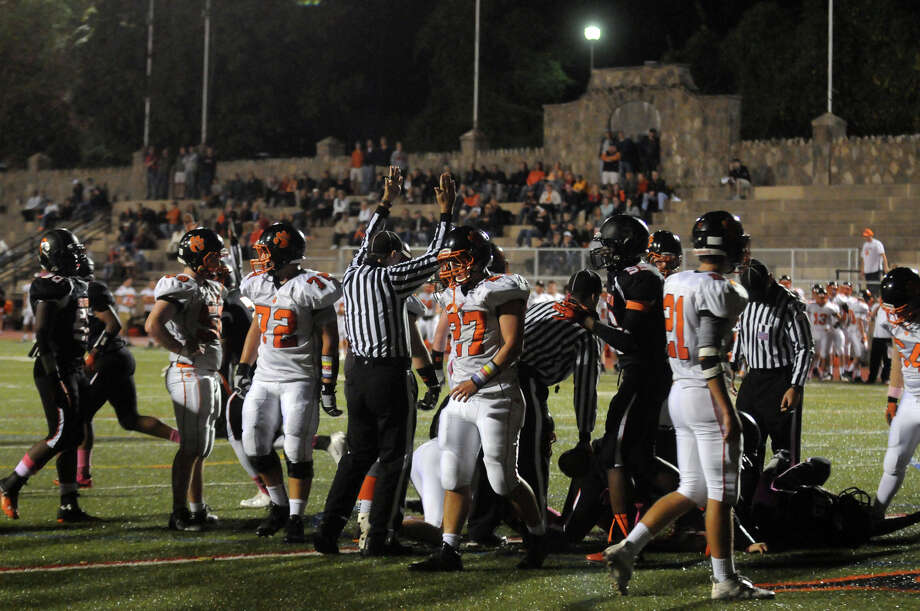 Stamford High School hosts Ridgefield in a football game in Stamford, Conn., Oct. 11, 2013. Photo: Keelin Daly / Stamford Advocate Freelance