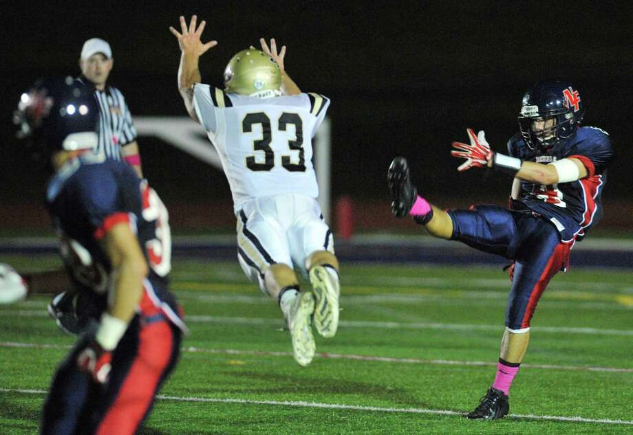 Photos from the SWC high school football game between New Fairfield and Joel Barlow at New Fairfield High School in New Fairfield, Conn. on Friday, Oct. 11, 2013. Photo: Tyler Sizemore / The News-Times