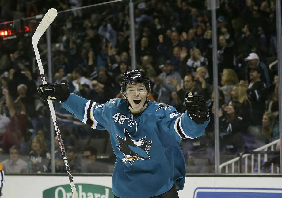 San Jose Sharks' Tomas Hertl, of the Czech Republic, celebrates his third goal of the game against the New York Rangers during the third period of an NHL hockey game on Tuesday, Oct. 8, 2013, in San Jose, Calif. (AP Photo/Marcio Jose Sanchez) Photo: Marcio Jose Sanchez, Associated Press