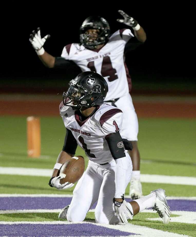 10/11/13: George Ranch's  Darius Anderson #1 celebrates his 33 yard touchdown run against Angleton in a High School football game in Angleton, Texas. Photo: Thomas B. Shea, Houston Chronicle / © 2013 Thomas B. Shea