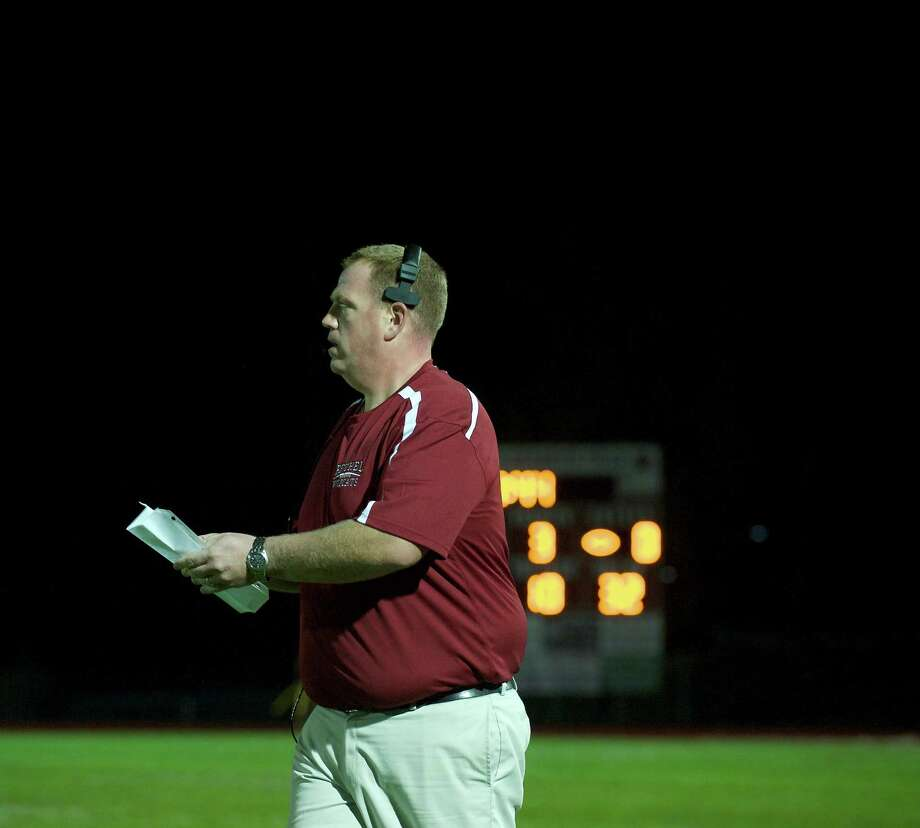 Bethel football head coach Jason Gill during a game between Bunnell High School and Bethel High School in Bethel, Conn, on Friday, October 11, 2013. Photo: H John Voorhees III / The News-Times Freelance