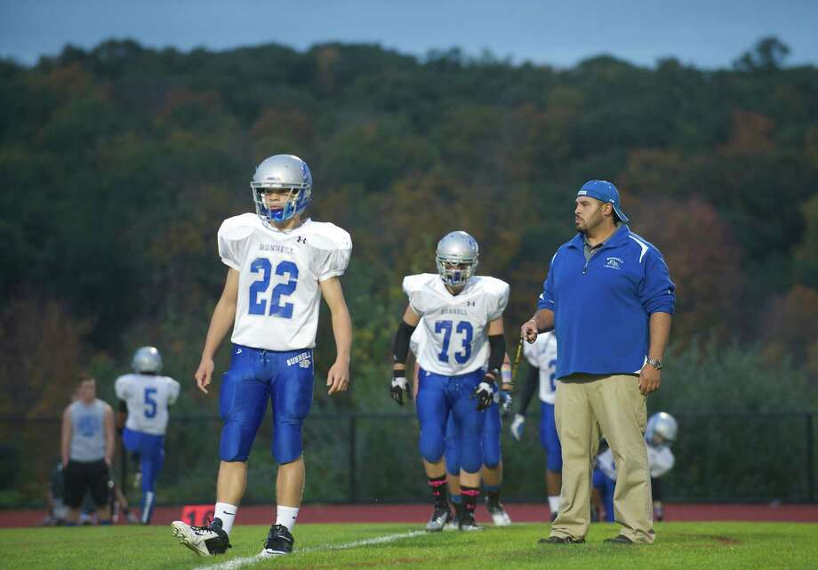 Bunnell football head coach Doug Cotto before a game between Bunnell High School and Bethel High School in Bethel, Conn, on Friday, October 11, 2013. Photo: H John Voorhees III / The News-Times Freelance