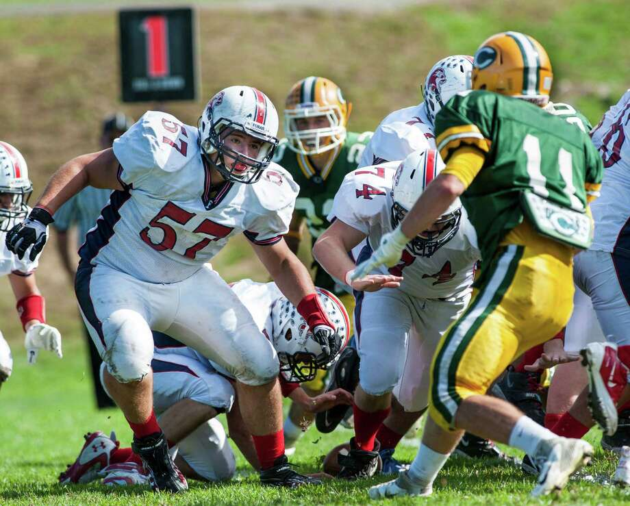 Foran high school lineman Andrew Melendez during a football game against Trinity Catholic high school played at Trinity in Stamford, CT on Saturday, October, 12th, 2013 Photo: Mark Conrad / Stamford Advocate Freelance