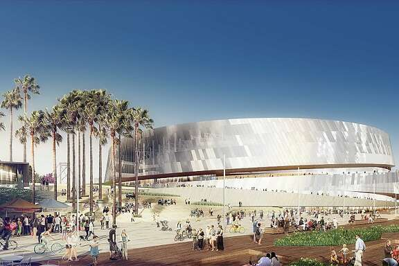 Earlier renderings  of the new Warriors arena. The venue will be located on Piers 30-32 on the waterfront in San Francisco.