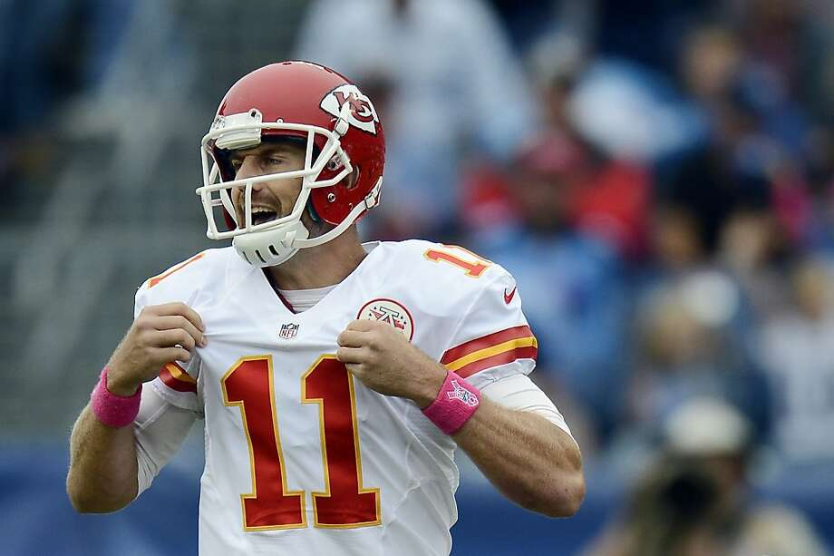 Kansas City Chiefs quarterback Alex Smith calls a play against the Tennessee Titans in the first quarter of an NFL football game on Sunday, Oct. 6, 2013, in Nashville, Tenn. (AP Photo/Mark Zaleski) Photo: Mark Zaleski, Associated Press