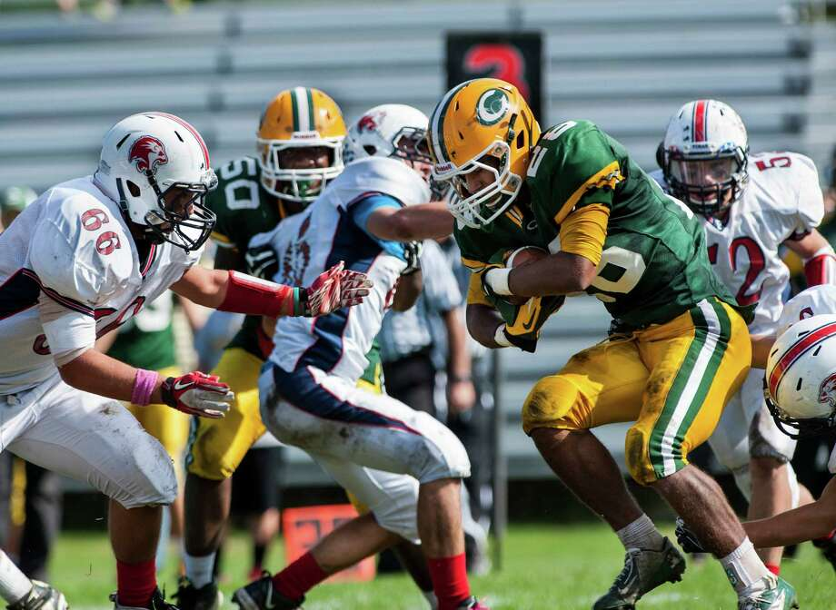 Foran high school against Trinity Catholic high school during a football game played at Trinity in Stamford, CT on Saturday, October, 12th, 2013 Photo: Mark Conrad / Stamford Advocate Freelance
