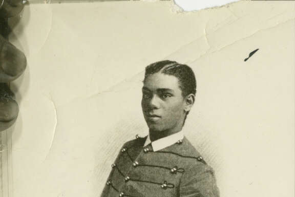 This photo of Henry Flipper as a West Point cadet was found tucked into an old book.