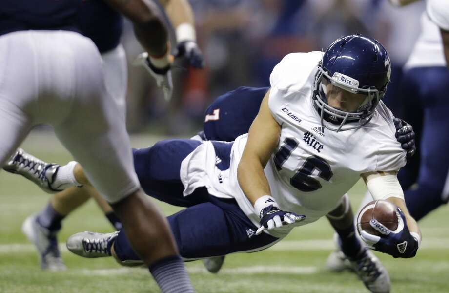 Oct. 12: Rice 27, UTSA 21Record: 4-2 Rice quarterback Taylor McHargue (16) dives for a touchdown during the second half of an NCAA college football game against UTSA, Saturday, Oct. 12, 2013, in San Antonio. Rice won 27-21. (AP Photo/Eric Gay) Photo: Eric Gay, Associated Press