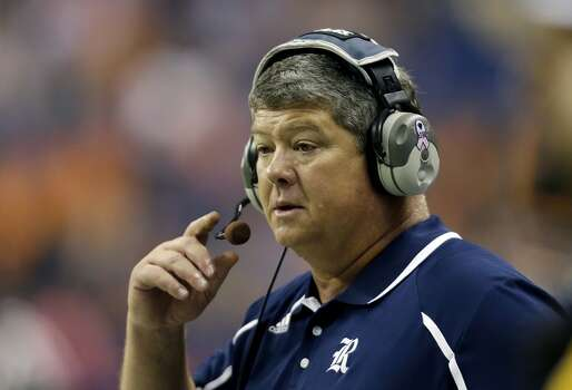 Rice coach David Bailiff watches from the sidelines during the first half of an NCAA college football game against UTSA, Saturday, Oct. 12, 2013, in San Antonio. (AP Photo/Eric Gay) Photo: Eric Gay, Associated Press
