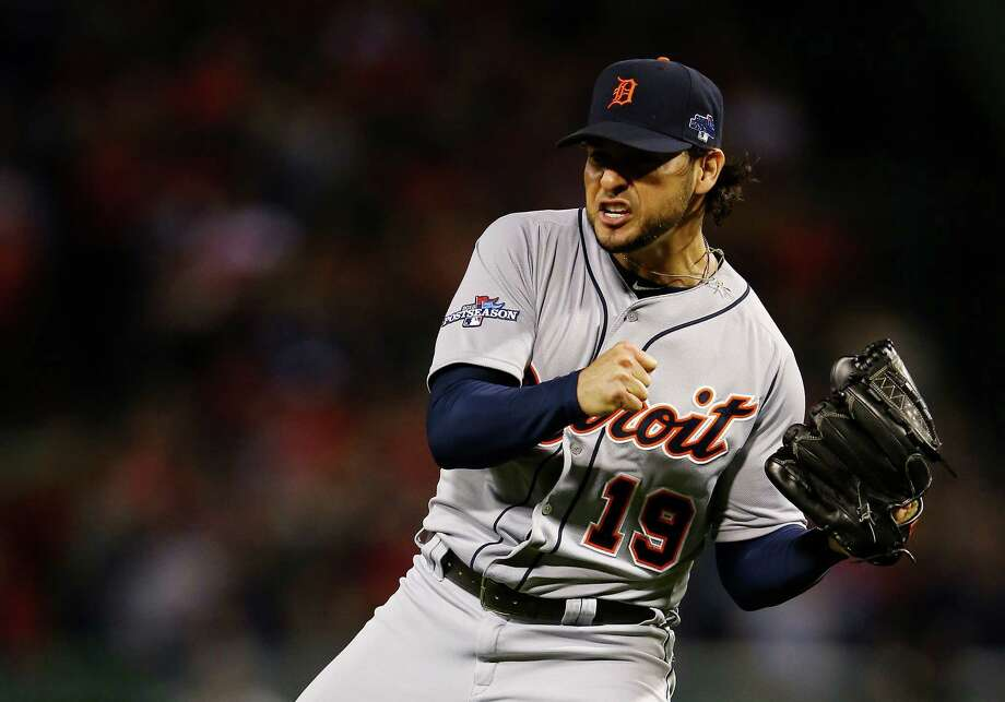 BOSTON, MA - OCTOBER 12:  Anibal Sanchez #19 of the Detroit Tigers reacts after a strikeout in the sixth inning against the Boston Red Sox during Game One of the American League Championship Series at Fenway Park on October 12, 2013 in Boston, Massachusetts.  (Photo by Al Bello/Getty Images) ORG XMIT: 184446524 Photo: Al Bello / 2013 Getty Images
