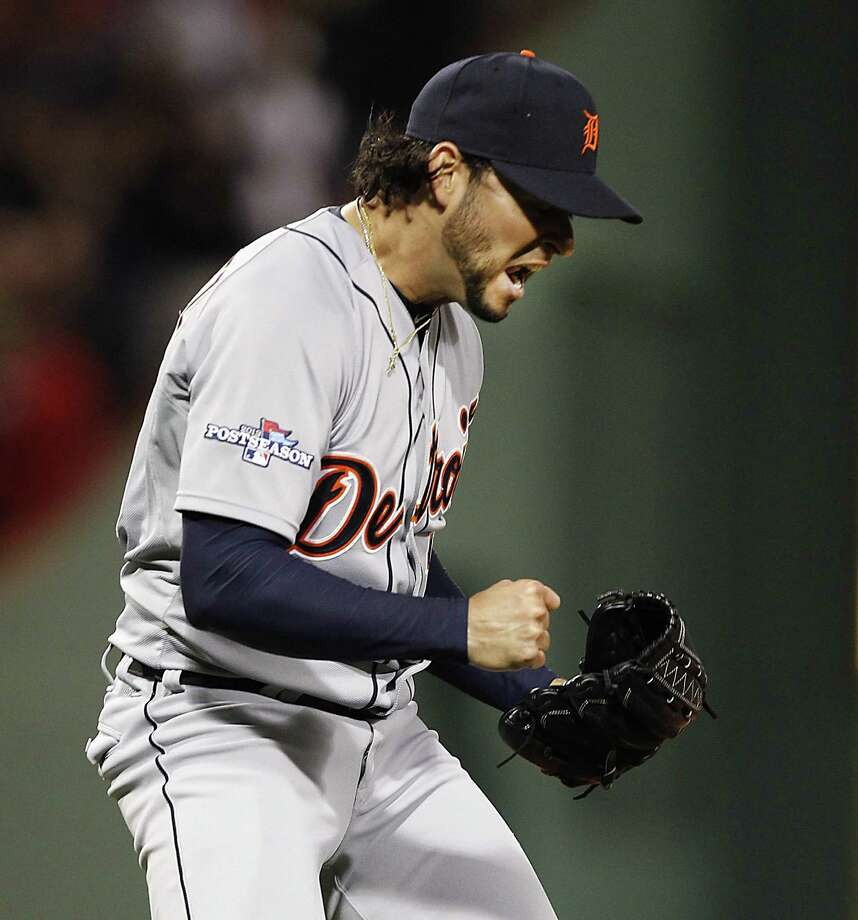 Tigers starter Anibal Sanchez rode waves of adrenaline all night, tossing six no-hit innings in a nearly historic win over the Red Sox in the ALCS opener. Photo: JULIAN H. GONZALEZ, MBR / Detroit Free Press