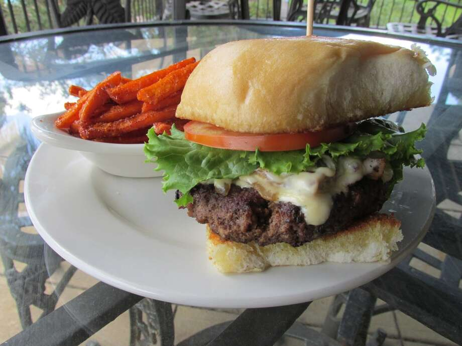 The Brentwood Bogey at 19 Grill at Brentwood Country Club, with an order of hand-cut sweet potato fries. Photo: Cat5