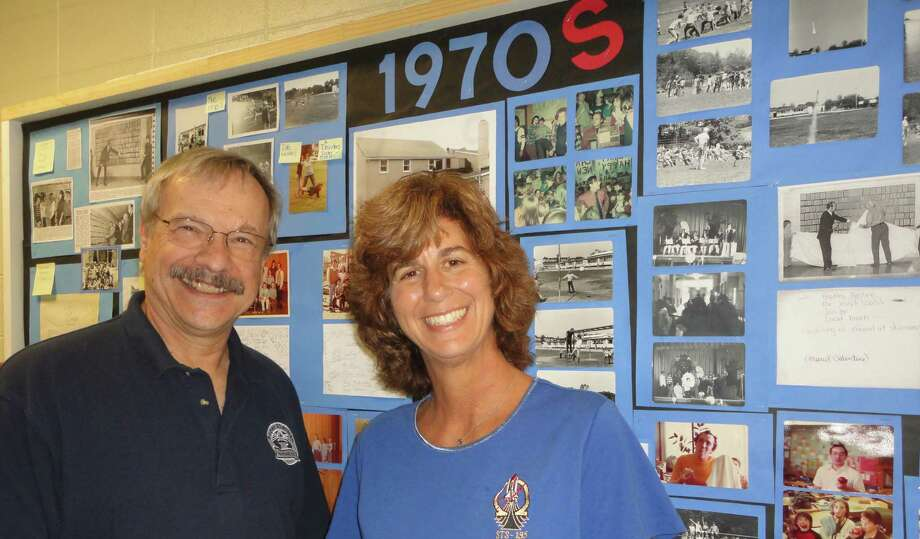 Ann Micklos, a 1977 graduate of Roger Sherman School who has worked as an engineer for NASA for 25 years, was unable to attend Friday's 100th anniversary of the school but she visited the week before and reconnected with her fifth-grade teacher Ted Ostrowski.  FAIRFIELD CITIZEN, CT 10/11/13 Photo: Meg Barone / Fairfield Citizen contributed