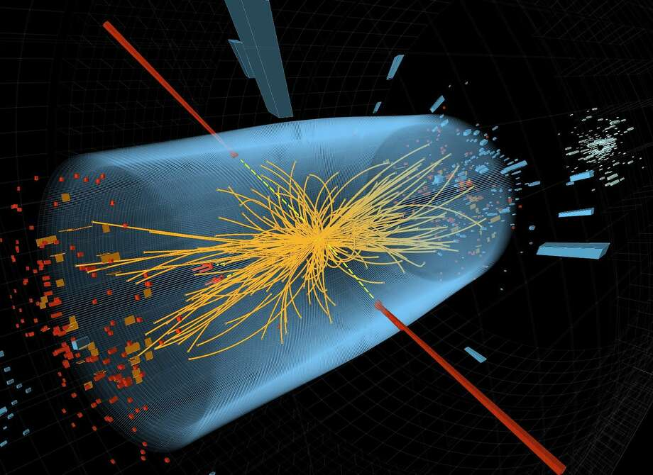 "This undated image made available by CERN shows an experimental result in the search for the Higgs particle. The red lines depict traces of  two high-energy photons.  The yellow lines show tracks of other particles produced in the collision. Physicists Francois Englert of Belgium and Peter Higgs of Britain have won the 2013 Nobel Prize in physics, Tuesday, Oct. 8, 2013. The Royal Swedish Academy of Sciences cited the two scientists for the ""theoretical discovery of a mechanism that contributes to our understanding of the origin of mass of subatomic particles."" Photo: Uncredited, AP / THE ASSOCIATED PRESS2013"