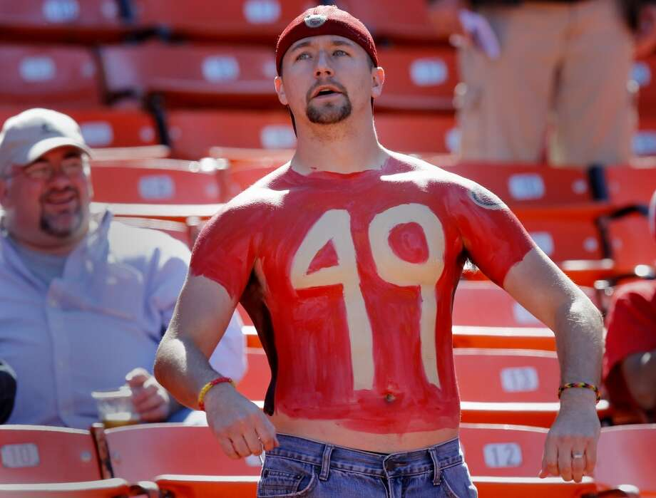 49ers fan Steve Adkins gets ready for the start of the game Sunday October 13, 2013 in San Francisco, Calif. The San Francisco 49ers vs the Arizona Cardinals at Candlestick Park. Photo: Brant Ward, The Chronicle