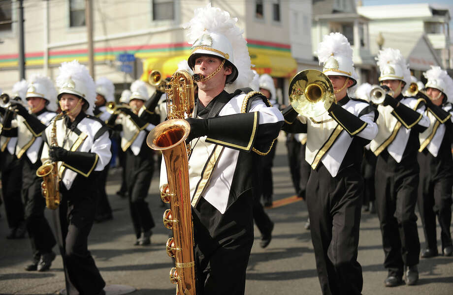 The Trumbull High School Marching Band marches in the annual Columbus Day Parade down Madison Avenue in Bridgeport, Conn. on Sunday, October 13, 2013. Photo: Brian A. Pounds / Connecticut Post
