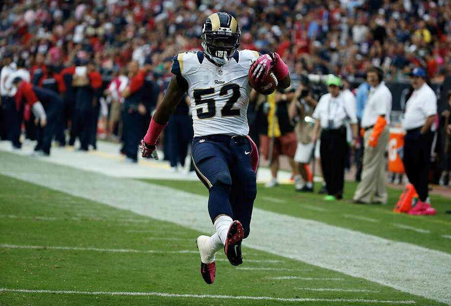 Rookie Alec Ogletree gave the Rams a 38-6 lead in the third after a 98-yard interception return. Photo: Scott Halleran, Getty Images