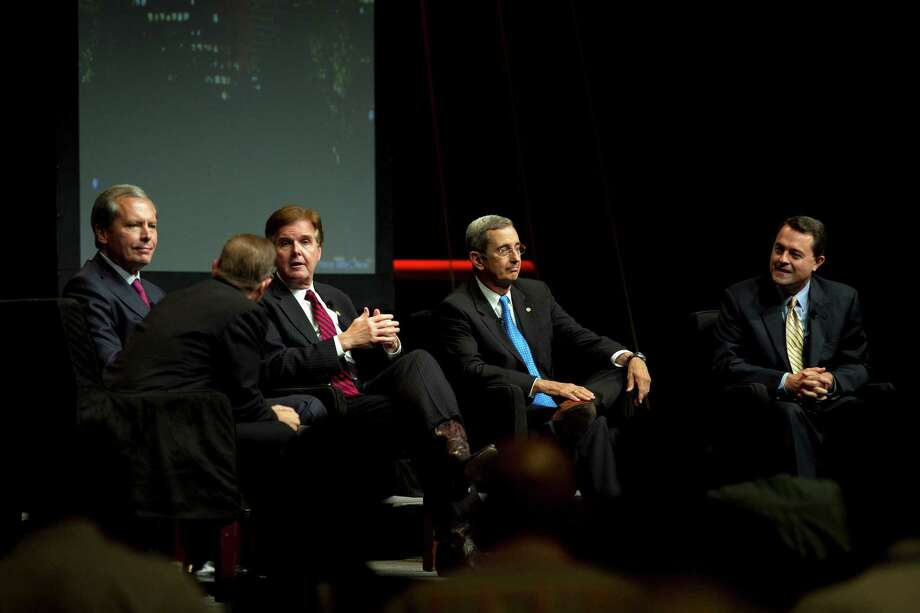Bad blood spilled in Friday's debate in Austin among Republican lieutenant governor candidates David Dewhurst, left, Dan Patrick,  Jerry Patterson and Todd Staples. The bickering drove some in the audience to leave. Photo: Deborah Cannon, MBO / American-Statesman