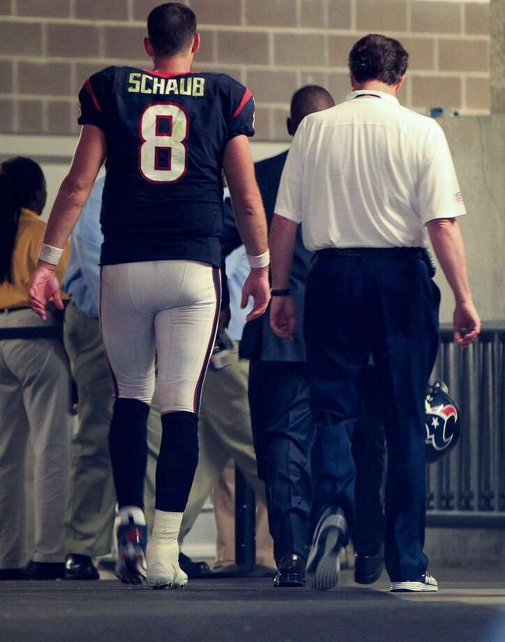 Texans quarterback Matt Schaub walks up the tunnel as he leave the field during the fourth quarter. Photo: Karen Warren, Houston Chronicle