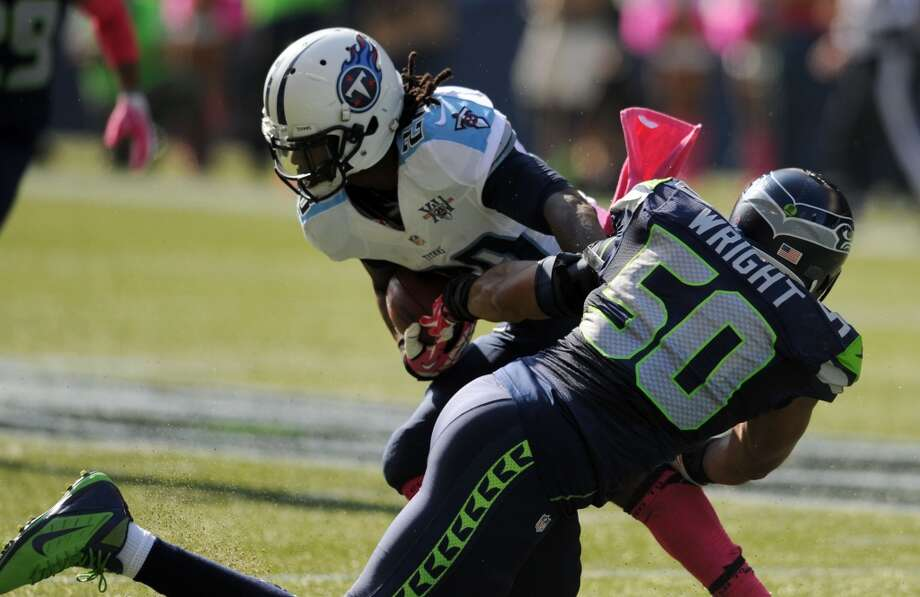 3. Seattle's run defense is still suffocatingFor the second-straight week, the Seahawks run defense was stout. They held a former 2,000-yard rusher, Chris Johnson, to just 33 yards on 12 carries, an average of 2.75 yards per touch. His longest run was only 8 yards.  The Titans' best runner for the day was quarterback Ryan Fitzpatrick, who had 33 yards on six carries -- all scrambles.  So far this season, the only ball-carrier to surpass the century mark against the Seahawks was Arian Foster of the Texans, who ran for 102 yards two weeks ago.  Although Seattle's defensive rushing numbers don't look great (through six games the Hawks have given up 101.8 rushing yards per game, ranking them in the middle third of the league), the team has given up just three rushing touchdowns and a longest run of just 22 yards.   Granted, Johnson isn't the same back he was in 2009 when he rushed for 2,006 yards, and Tennessee's offensive line isn't the best in the league. But to hold a runner as explosive as Johnson to fewer than 3 yards per touch is good enough to win with, at least. Photo: Steve Dykes, Getty Images