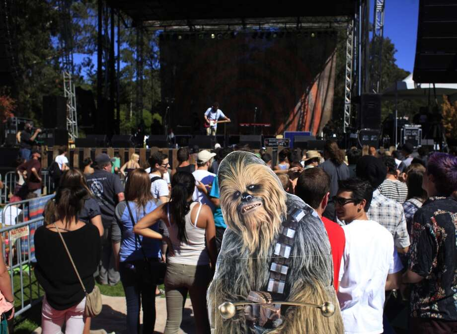 ChewbaccaSF and Scott Renner make and an appearance in front of the Arrow Stage at Hardly Strictly Bluegrass in San Francisco, Calf. Photo: Mike Kepka, The Chronicle