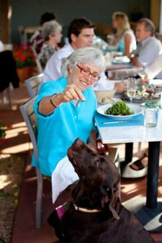 At Cindy's Backstreet Kitchen in St. Helena, chef-owner Cindy Pawlcyn offers a Paws on the Patio program, on the tucked-away 20-seat area anchored by a wood-fired oven and, perhaps conveniently, a mature fig tree. Every pup gets a homemade all-natural dog biscuit and a bowl of fresh filtered water. The idea, says Pawlcyn, was inspired by her two brown labs, Lucy and Cole.  1327 Railroad Avenue, St. Helena. 707-963-1200. cindysbackstreetkitchen.com.  Photo of Cindy Pawlcyn and pup courtesy Backstreet Kitchen