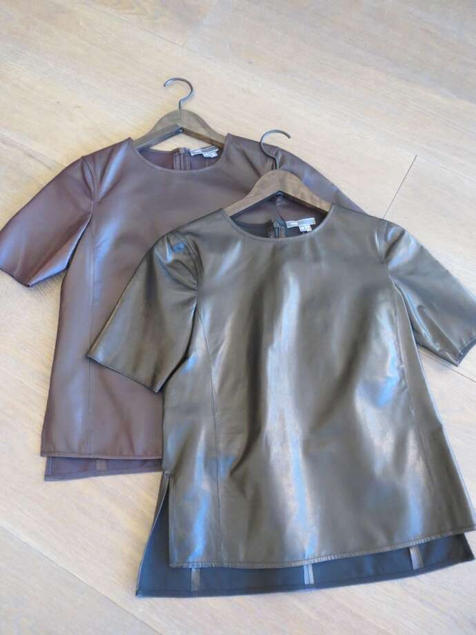 This is my favorite new way to wear leather - Vince's boxy leather tee-shirts (in black, olive, or burgundy) are so perfect with a pencil skirt for the office or with skinny jeans and a statement necklace for a night out.