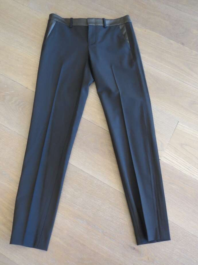Or wool slacks with leather trim at the waistband and on the pockets.