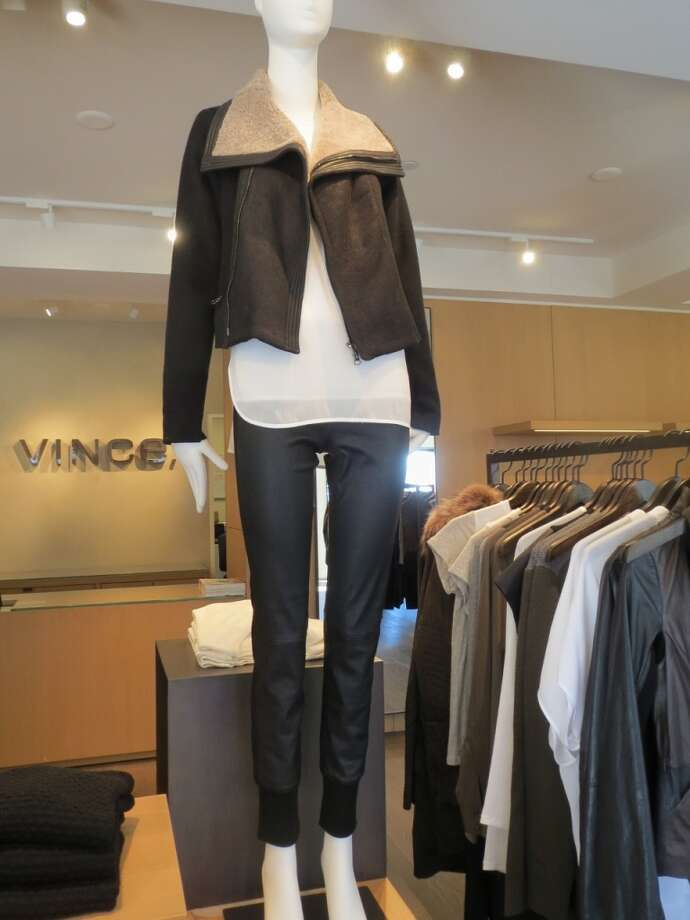 Too much of a good thing can sometimes be, well, too much.  But Vince brilliantly mixes banded leather pants with a shearling-lined leather jacket - the key being in the differing textures and colors of the leather and adding a chiffon blouse for softness.