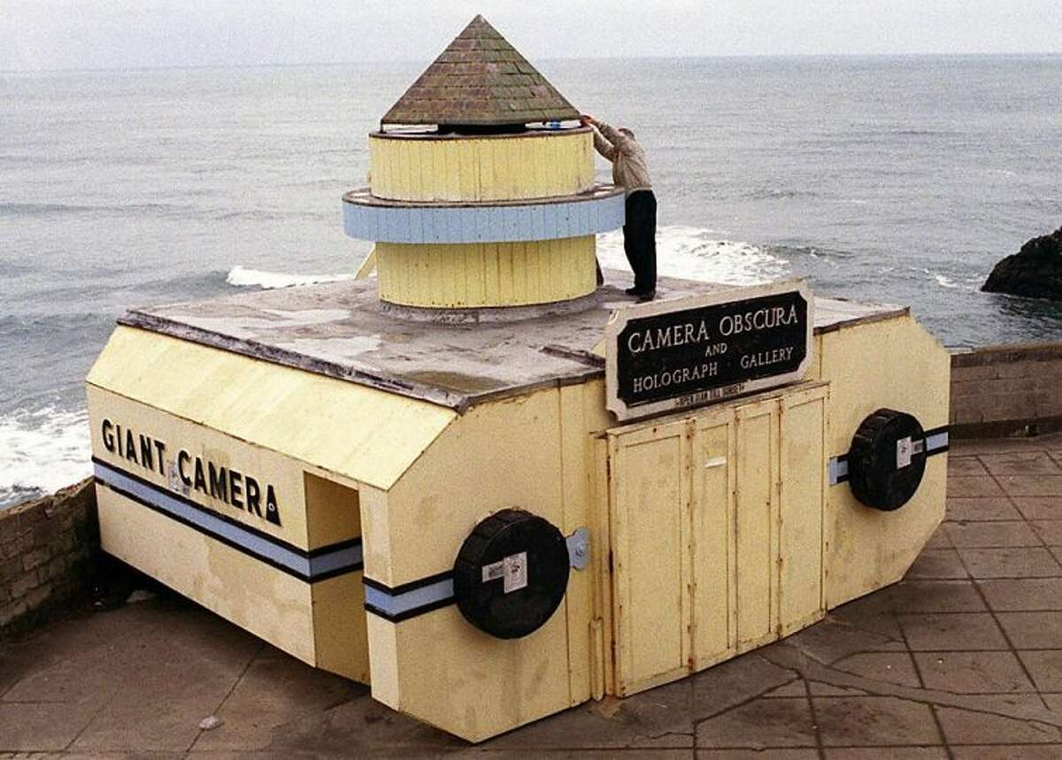 Take a photo inside the Camera Obscura near Cliff House in the Outer Richmond. The massive 'camera' was originally part of Playland at the Beach.