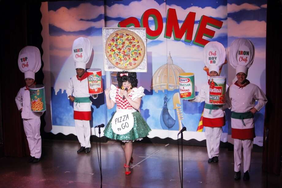 Catch topical comedy tunes, and lots of crazy hats, at Beach Blanket Babylon. Photo: Carlos Avila Gonzalez, The Chronicle