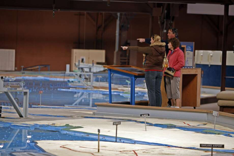 Check out a massive, working hydraulic model of the bay and the delta at the Bay Model Visitors Center in Sausalito. Photo: Kurt Rogers, The Chronicle