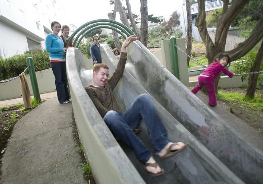 Bring a cardboard box and head down the Seward St. Slides. Photo: Adam Lau, The Chronicle