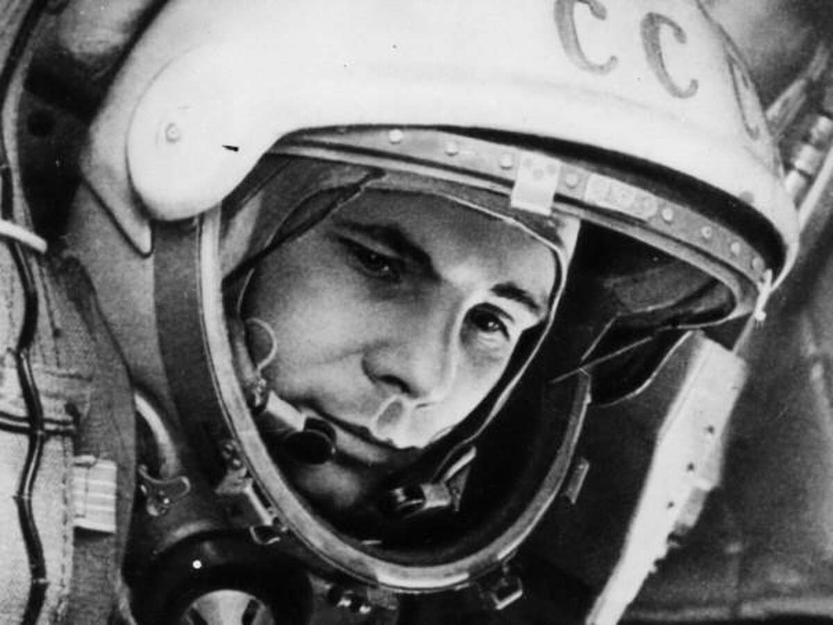 Soviets first On April 12, 1961, the USSR sent its first craft, Vostok 1, into space, piloted by cosmonaut and test pilot Yuri Gagarin. He completed one orbit of Earth and spent 1 hour and 48 minutes in space. Gagarin was hailed as a hero, but the status was short-lived. He died in 1968 piloting a MiG-15 training jet, which crashed.