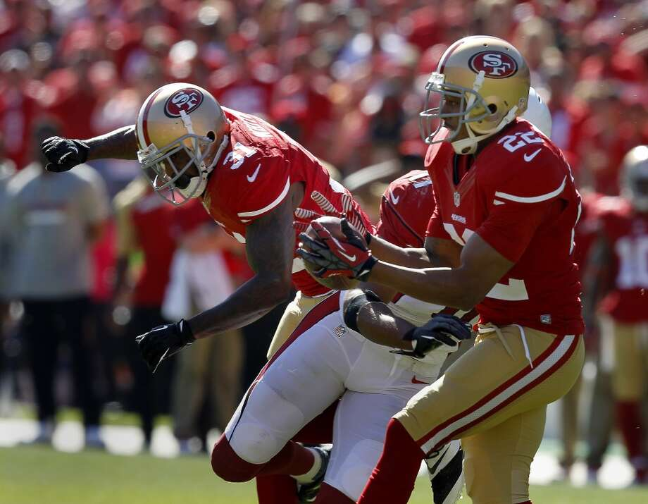 Carlos Rogers (22) makes the 49ers second interception of the first half Sunday October 13, 2013 in San Francisco, Calif. The San Francisco 49ers vs the Arizona Cardinals at Candlestick Park. Photo: Brant Ward, The Chronicle