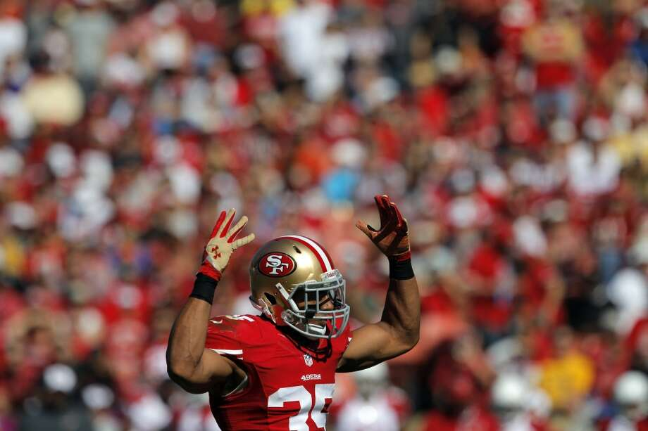 Eric Reid tries to get the crowd to make more noise in the second quarter. The San Francisco 49ers played the Arizona Cardinals at Candlestick Park in San Francisco, Calif., on Sunday, October 13, 2013. Photo: Carlos Avila Gonzalez, The Chronicle