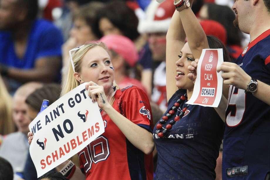 Texans fans cheer quarterback Matt Schaub during the second quarter. Photo: Karen Warren, Houston Chronicle