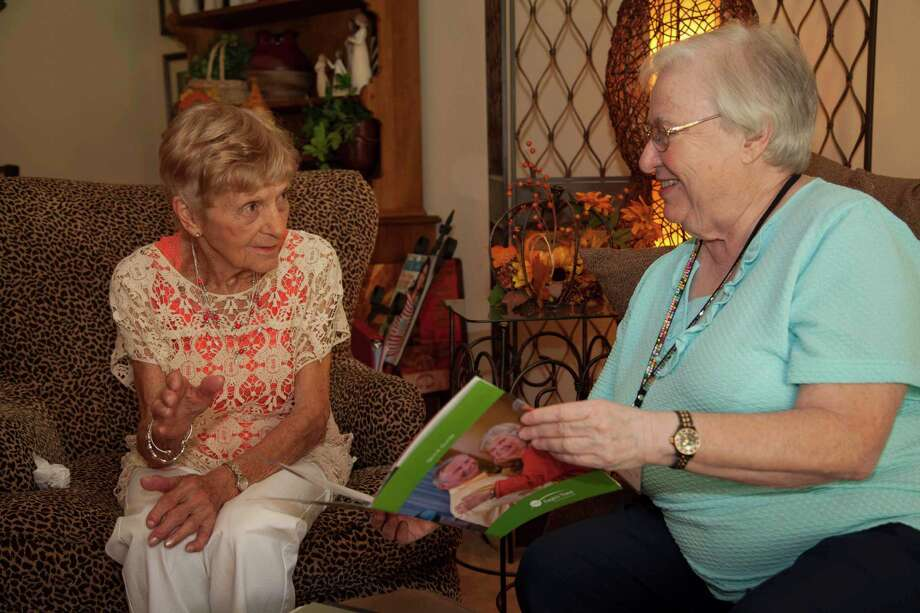 Florence Horton and Kay Foster discuss activities at Eagle's Trace.