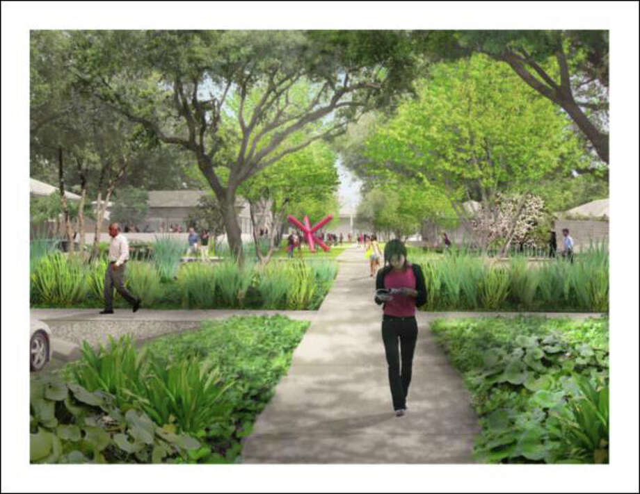 An artist rendering of the planned campus gateway. Photo: Menil Collection