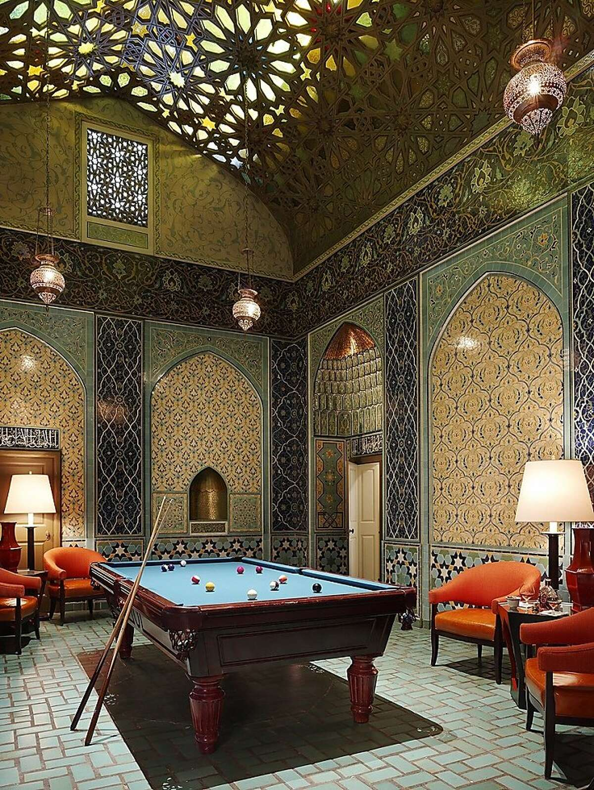 The billiards room in the Fairmont Hotel penthouse.